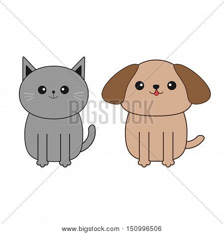 Cartoon dog and cat. Mustache whisker. Funny smiling character set. Contour Flat design. White background. Isolated. Vector illustration