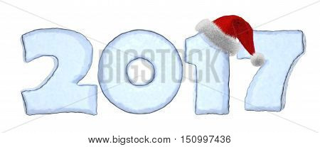 Happy New Year creative holiday concept - 2017 new year text sign written with numbers made of clear blue ice with Santa Claus fluffy red hat New Year 2017 winter symbol 3d illustration isolated on white
