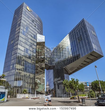BARCELONA SPAIN - JULY 4 2016: Office building of Gas Natural fenosa is a Spanish natural gas utilities company. The firm is headquartered located in Barcelona.