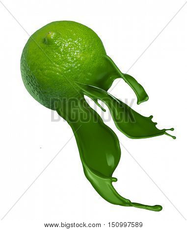 Green lime with pait splash isolated on white background