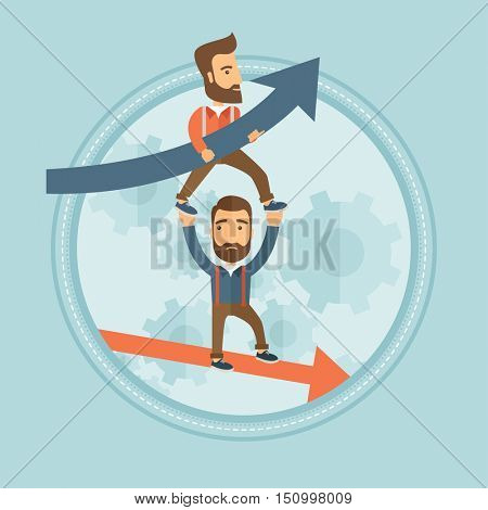 Depressed hipster bankrupt businessman holding on outstretched hands successful businessman. Success and failure in business. Vector flat design illustration in the circle isolated on background.