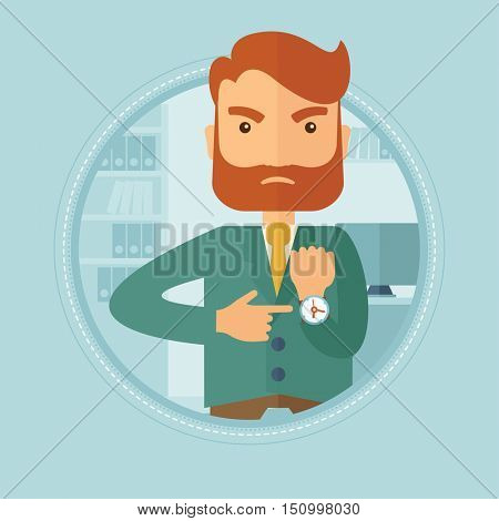 Angry caucasian hipster businessman with beard standing in office, pointing at his wrist watch and showing that employee is late. Vector flat design illustration in the circle isolated on background.