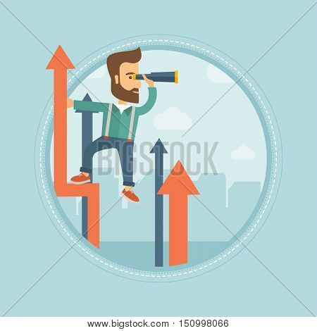 Caucasian hipster businessman with beard standing on the top of arrow and looking through spyglass. Concept of business vision. Vector flat design illustration in the circle isolated on background.