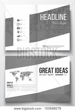 Set of business templates for brochure, magazine, flyer, booklet or annual report. Microchip background, electrical circuits, polygonal texture, scientific or digital design template