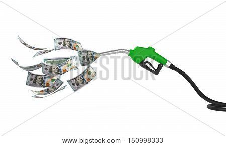 Gas Pump Nozzle and Dollar isolated on white background. 3D render