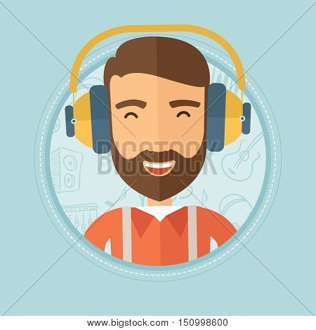 Young cheerful caucasian hipster man with the beard listening to music in headphones on a blue background with music icons. Vector flat design illustration in the circle isolated on background.