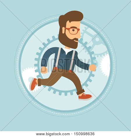 Happy caucasian hipster businessman with beard running in a hurry on gear background. Businessman working and moving to success. Vector flat design illustration in the circle isolated on background.