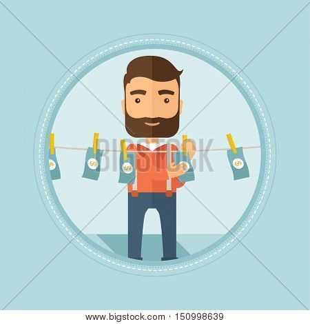 Smiling caucasian hipster businessman with the beard drying dollar bills on clothesline. Concept of illicit money laundering. Vector flat design illustration in the circle isolated on background.