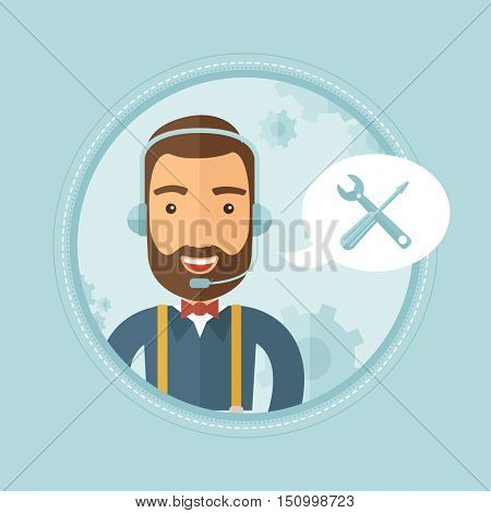 Professional young cheerful hipster operator of technical support wearing headphone set. Customer service and technical support. Vector flat design illustration in the circle isolated on background.