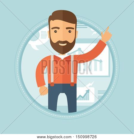 Cheerful caucasian hipster businessman with the beard pointing his forefinger up during business presentation. Man giving a business presentation. Vector flat design illustration in the circle.