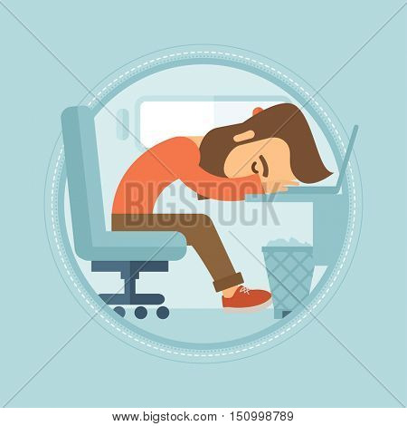 A tired hipster employee with the beard sleeping on the keyboard of laptop. Overworked young businessman resting at workplace. Vector flat design illustration in the circle isolated on background.