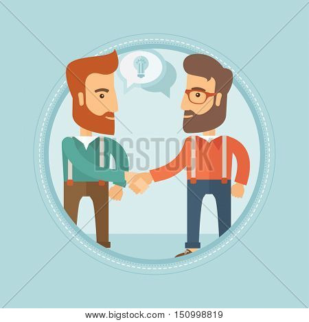 Two smiling caucasian hipster businessmen with the beards shaking their hands to launch a new venture based on a brilliant idea. Vector flat design illustration in the circle isolated on background.