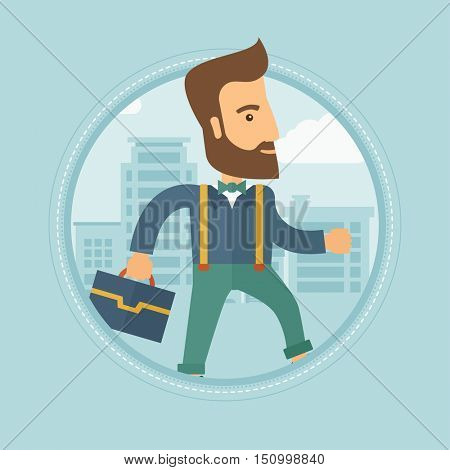 Young hipster caucasian businessman with the beard walking with a briefcase in the street. Businessman walking down the street. Vector flat design illustration in the circle isolated on background.