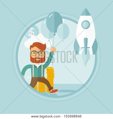 Successful hipster businessman with beard flying with balloons over golden coins and a business start up rocket flying nearby. Vector flat design illustration in the circle isolated on background.