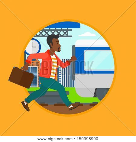 An african latecomer man running along the platform to reach the train. Man came too late at train station. Man chasing train. Vector flat design illustration in the circle isolated on background.