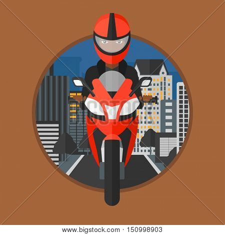An african-american woman in helmet riding a motorcycle on the background of night city. Woman driving a motorbike on a city road. Vector flat design illustration in the circle isolated on background.