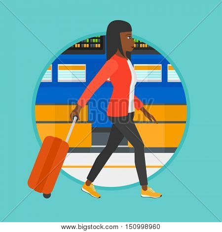 African-american woman walking at the airport. Passenger with suitcase walking on the background of schedule board at the airport. Vector flat design illustration in the circle isolated on background.
