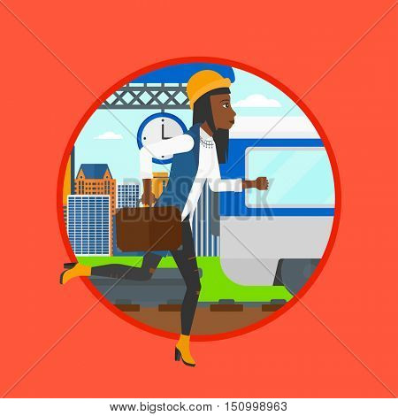 An african latecomer woman running along the platform to reach the train. Woman came too late at train station. Woman chasing train.Vector flat design illustration in the circle isolated on background