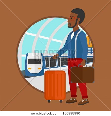 An african-american man standing at the train station on the background of arriving train. Man with suitcases waiting for a train. Vector flat design illustration in the circle isolated on background.