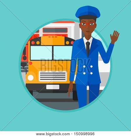 An african-american school bus driver in uniform waving. Young female school bus driver standing in front of yellow bus. Vector flat design illustration in the circle isolated on background.