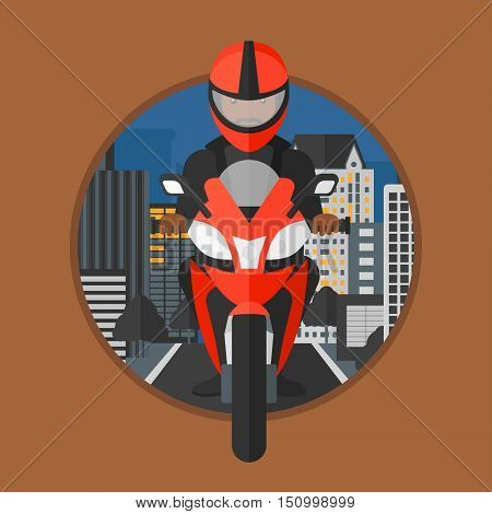 An african-american man in helmet riding a motorcycle on the background of night city. Man driving a motorbike on a city road. Vector flat design illustration in the circle isolated on background.