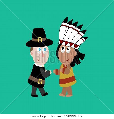 Pilgrim and indian illustration on the green background. Vector illustration