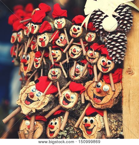 Tio de Nadal a traditional Christmas symbol of Catalonia Spain. Christmas decorations on the market in Europe