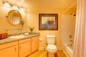 Yellow  Cozy Bathroom With Orange Cream Colors poster