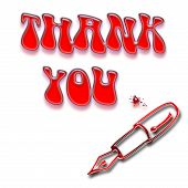 pic of thank you card  - Thank you message and pen on white - JPG