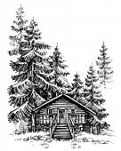 A wooden cabin in the pine forest. Idyllic winter landscape, holidays retreat poster