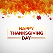 Happy Thanksgiving Day Background With Maple Leaves poster
