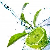 foto of green leaves  - water drops on lime with green leaves isolated on white - JPG