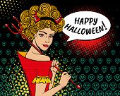 Постер, плакат: Happy Halloween Sexy Surprised Devil Woman Ginger Curly Hair Red Horns Trident And Speech Bubble