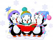 Cute cartoon penguins singing ?hristmas carols