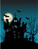 image of tombstone  - Haunted house on hill with spooky trees - JPG
