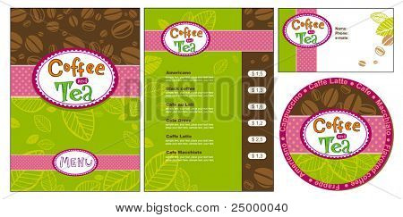 Templates for corporate style for cafe or shop, vector illustration