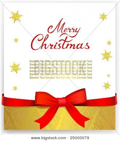 Christmas greeting card with red bow. Vector illustration