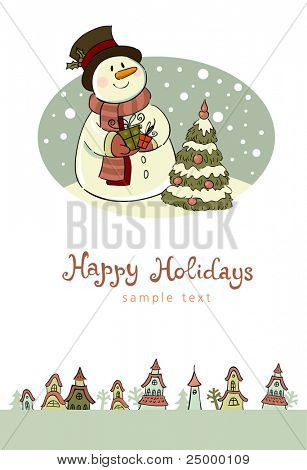 Christmas greeting card, vector illustration