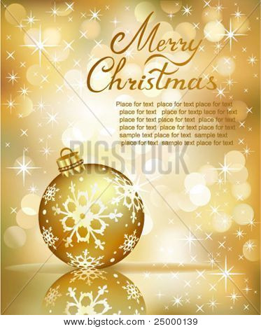 Vector Christmas ball on abstract golden  lights background.