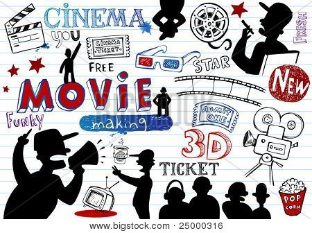 Movie-making, doodle set