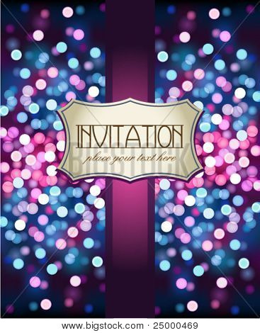 Vintage invitation on glittering background