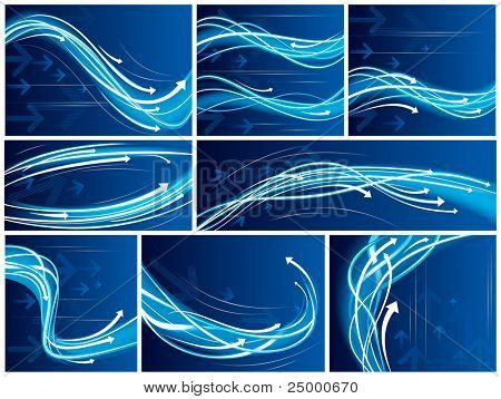 Blue Abstract vector backgrounds with arrows