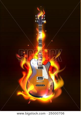 Vector Electric Guitar in fire Isolated on Black Background, eps 10