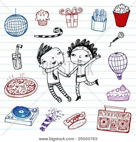 Party!!! Vector doodle set