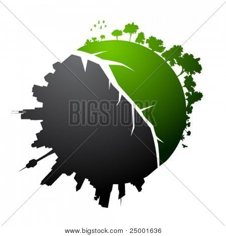 Broken planet illustration - vector