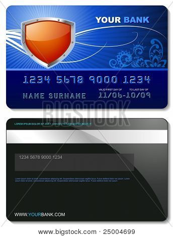 Blue credit card template