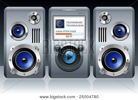 Detailed MP3 player with speakers