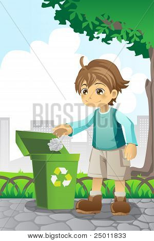 Boy Recycling Paper