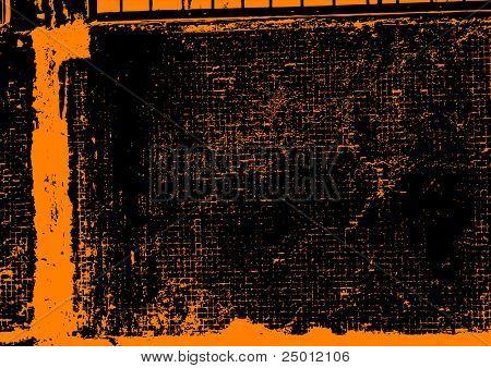 Grunge texture in orange color. Vector.