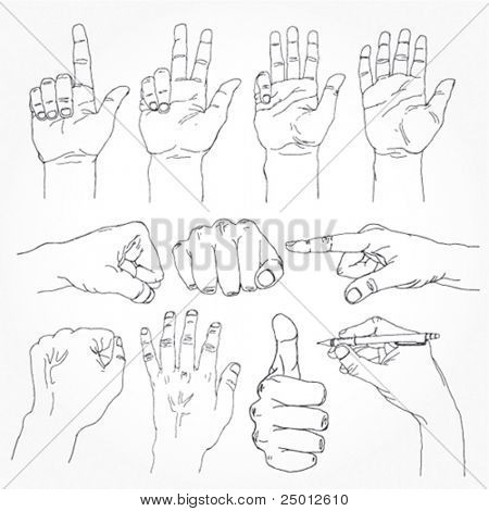 Set of Stylish Hand Drawn Hands Outline